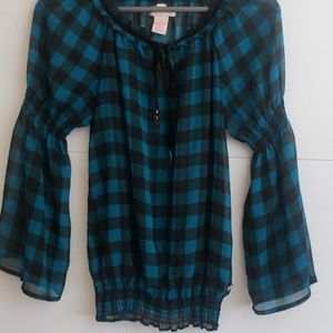 Candies sheer checkered teal black bell sleeves s